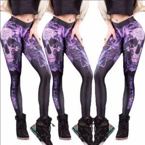 Purple mechanical skull yoga leggings pants